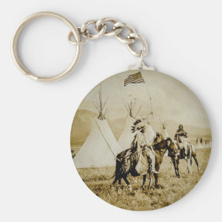 Flathead Indians Vintage Native American Warriors Basic Round Button Key Ring