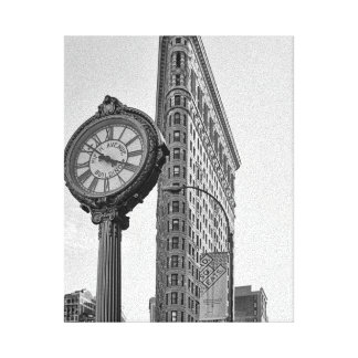 Flatiron Building and Clock in Black and White #2 Stretched Canvas Print