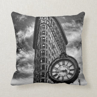 Flatiron Building and Clock in Black and White Cushion