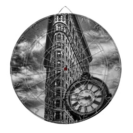Flatiron Building and Clock in Black and White Dartboards