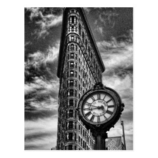 Flatiron Building and Clock in Black and White Postcard
