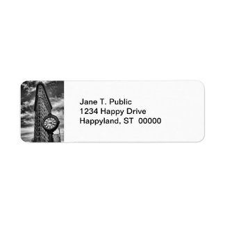Flatiron Building and Clock in Black and White Return Address Label