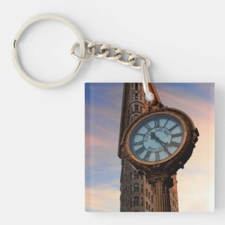 Flatiron Building Photo in NYC Single-Sided Square Acrylic Key Ring