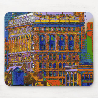 Flatiron Building Rear View - Psychedelic Style Mouse Pad