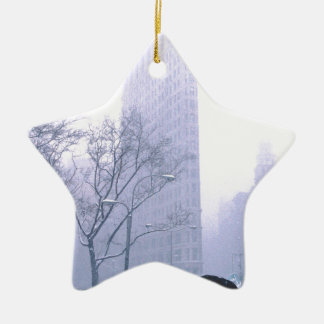 Flatiron Building Snow Storm NeW York Ceramic Ornament