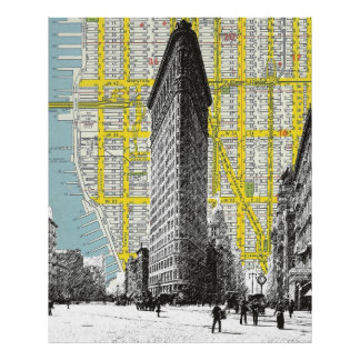 Flatiron Building vintage landmark  NYC Map backgr Poster