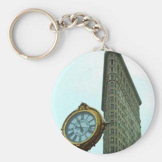 Flatiron Bulding and Clock Basic Round Button Key Ring
