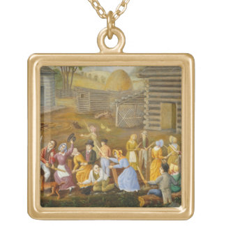 Flax Scutching Bee, 1885 (oil on bed ticking) Gold Plated Necklace
