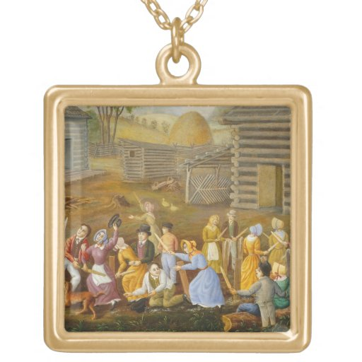 Flax Scutching Bee, 1885 (oil on bed ticking) Pendants