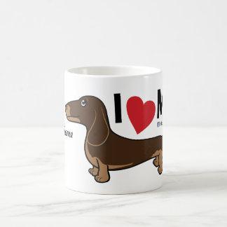 """FLDR """"I Love My"""" Smooth Choc/Tan Dachshund Mug. Basic White Mug"""