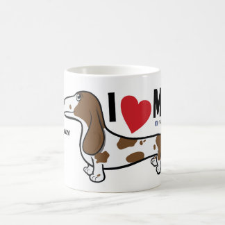 "FLDR ""I Love My"" Smooth Piebald Dachshund Mug. Coffee Mug"