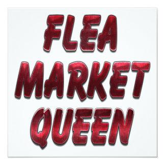 Flea Market Queen Red 5.25x5.25 Square Paper Invitation Card