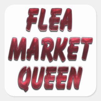 Flea Market Queen Red Square Sticker