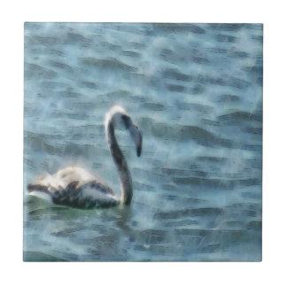 Fledgling Flamingo At Sea Watercolor Tile