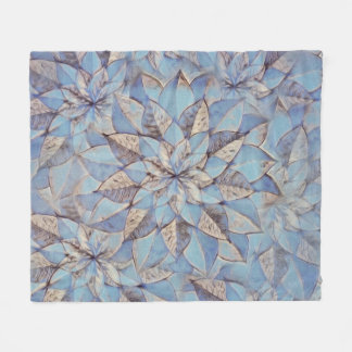 Fleece Blanke Blue Abstract Floral