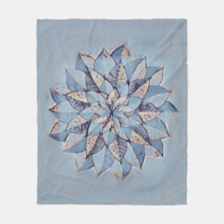 Fleece Blanke Blue Abstract Floral Painting
