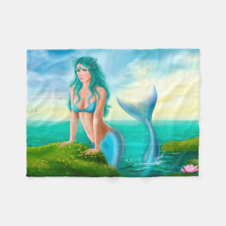 Fleece Blanket, Fantasy beautiful  mermaid in sea