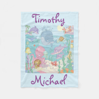 Fleece Blanket/Personalized Sea Life