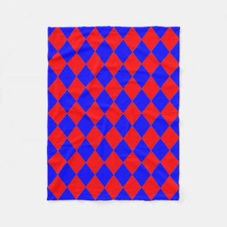 Fleece Blanket_ Red, Blue Diamonds