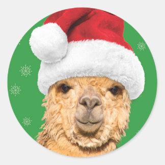 Fleece Navidad Christmas Llama with Santa Hat Classic Round Sticker