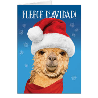 Fleece Navidad Cute Alpaca in Santa Hat Christmas Card