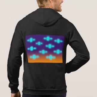 Fleece sleeveless hoodie with neon patterns.