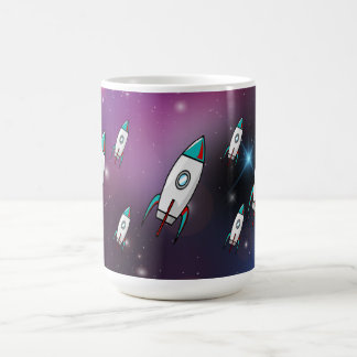 Fleet of Red and Blue Rockets Purple Space Coffee Mug