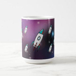 Fleet of Red and Blue Rockets Purple Space Coffee Mug