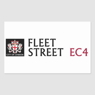 Fleet Street Sign (pack of 4) Rectangular Sticker