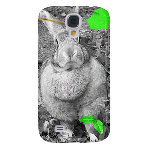 Flemish Giant Rabbit B & W with Green Leaves Samsung Galaxy S4 Cover
