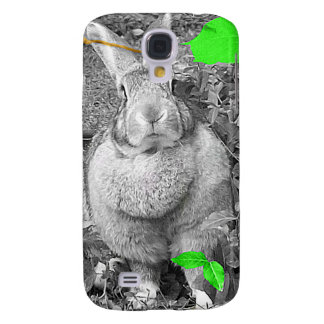 Flemish Giant Rabbit B & W with Green Leaves Galaxy S4 Cases