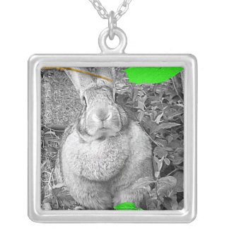 Flemish Giant Rabbit B & W with Green Leaves Square Pendant Necklace
