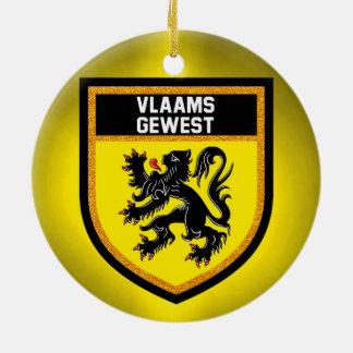Flemish Region Flag Round Ceramic Decoration