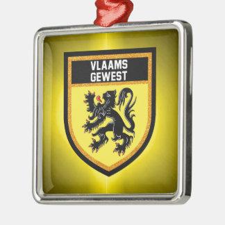 Flemish Region Flag Silver-Colored Square Decoration
