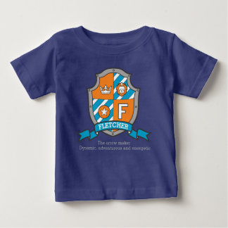 Fletcher boys F name & meaning boys coats of arms Baby T-Shirt