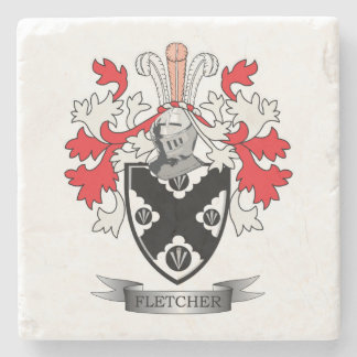 Fletcher Family Crest Coat of Arms Stone Coaster
