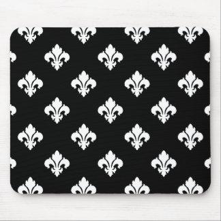 Fleur De Lis 1 Black and White Mouse Pad