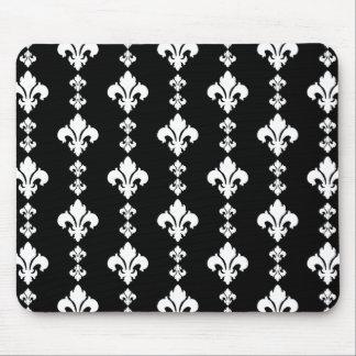 Fleur De Lis 3 Black and White Mouse Pad