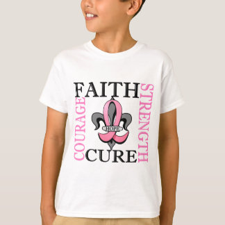 Fleur De Lis 3 Breast Cancer T-Shirt