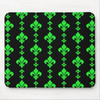 Fleur De Lis 3 Green Mouse Pad