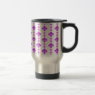 Fleur De Lis 3 Purple Stainless Steel Travel Mug