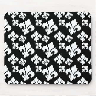 Fleur De Lis 4 Black and White Mouse Pad