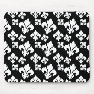 Fleur De Lis 4 Black and White Mouse Pad