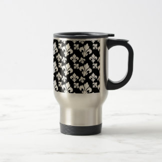 Fleur De Lis 4 Black and White Stainless Steel Travel Mug