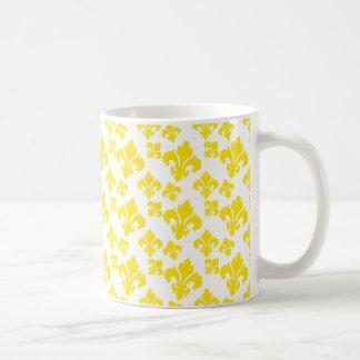 Fleur De Lis 4 Yellow Mugs