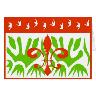 Fleur De Lis Abstract Christmas Card