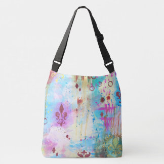 Fleur de Lis Abstract Paint Splatter Artistic Aqua Crossbody Bag