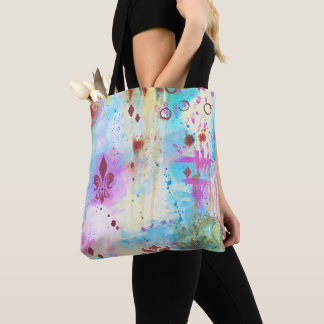 Fleur de Lis Abstract Paint Splatter Artistic Blue Tote Bag
