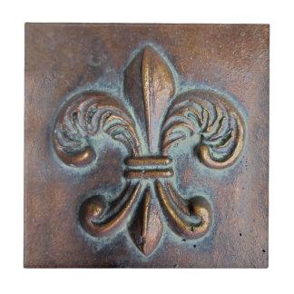 Fleur De Lis, Aged Copper-Look Printed Ceramic Tile