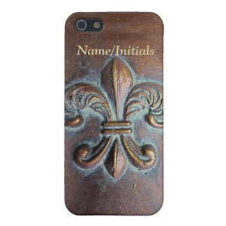 Fleur De Lis, Aged Copper-Look Printed Cover For iPhone 5/5S